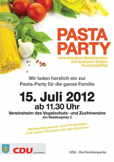 15.07.2012: Pasta-Party im Vogelpark - Plakat